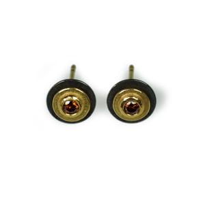 Ohrringe Tantal Gold 900/- und Brillanten cognacfarben
