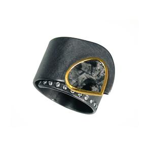Ring Tantal Gold 900/- Diamantscheibe und Brillanten