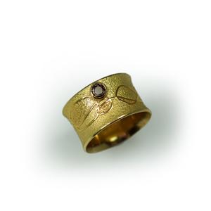 Ring Gold 750/- Feingold und Brillant cognacfarben