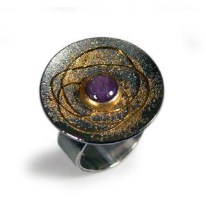 Ring Silber 925/- mit Feingold und Sternrubin