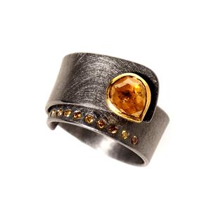 Ring Tantal Gold 900/- gelber Diamant und Brillanten