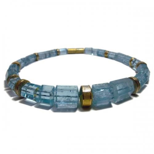 Kette mit Aquamarin, Gold 900 und Platin 950