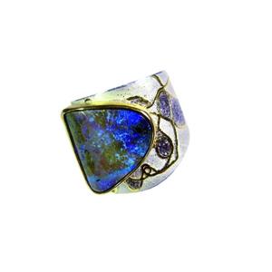 Ring Silber 925/- Feingold Palladium und Boulderopal