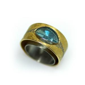 Ring Gold 750/- Platin 950/- und Aquamarin im Becker Cut