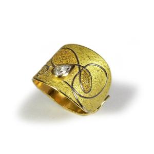 Ring Gold 750/- mit Feingold, Platin 950/- und Diamanttropfen